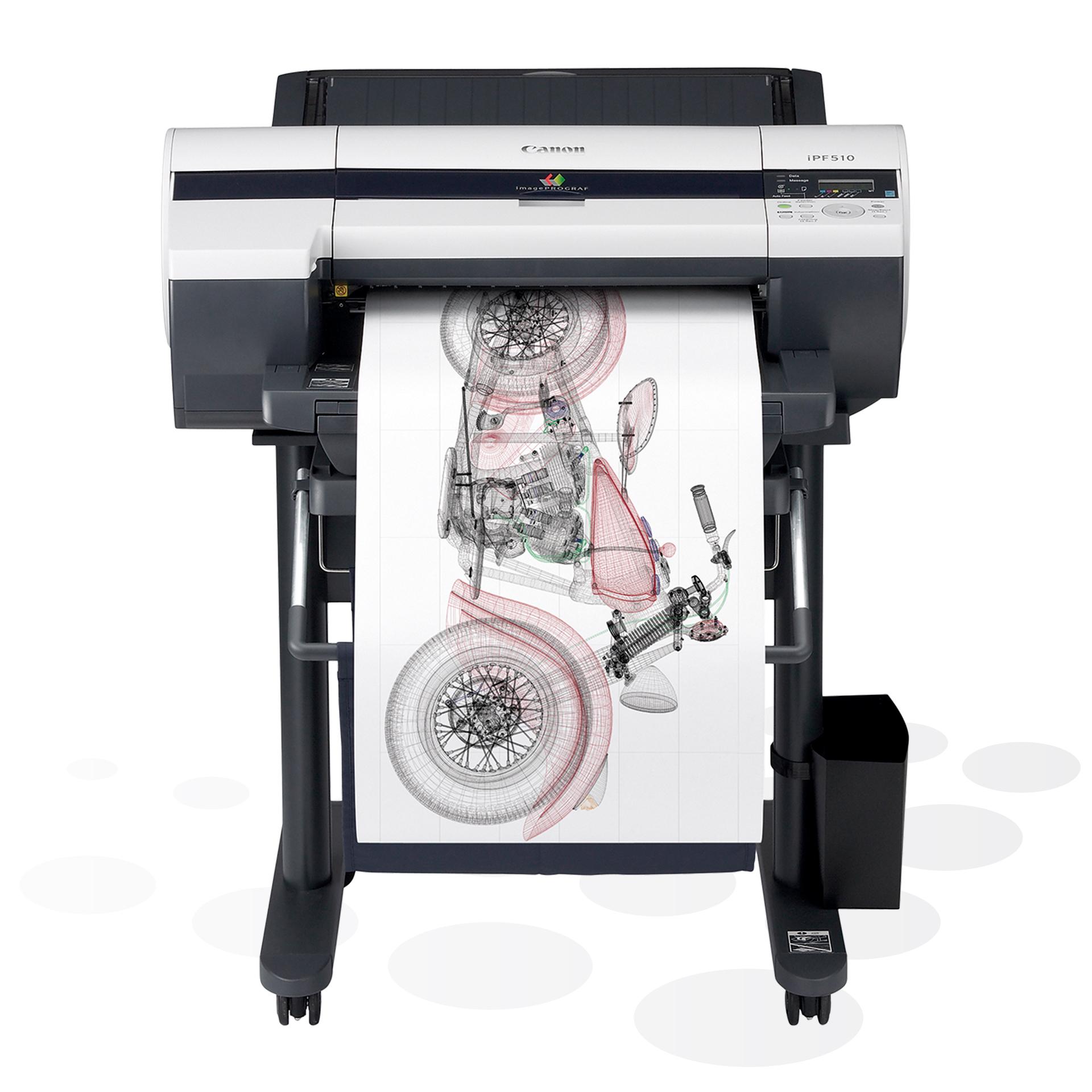 """iPF510 - 17"""" Großformatdrucker auf dem optionalen Untergestell"""