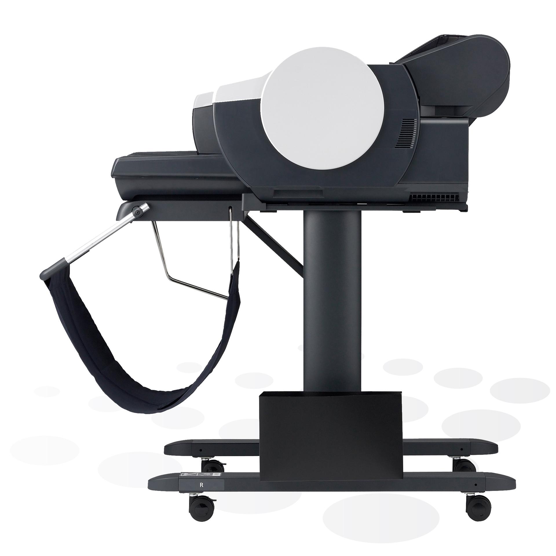 """iPF510 - 17"""" Großformatdrucker auf dem optionalen Untergestell (Seitenansicht)"""