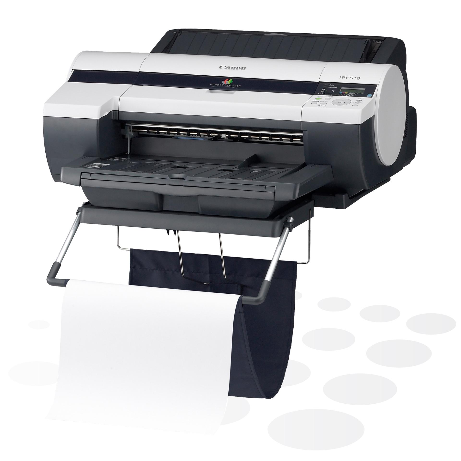 """iPF510 - 17"""" Großformatdrucker, ohne Untergestell, mit optionalem Auffangkorb"""